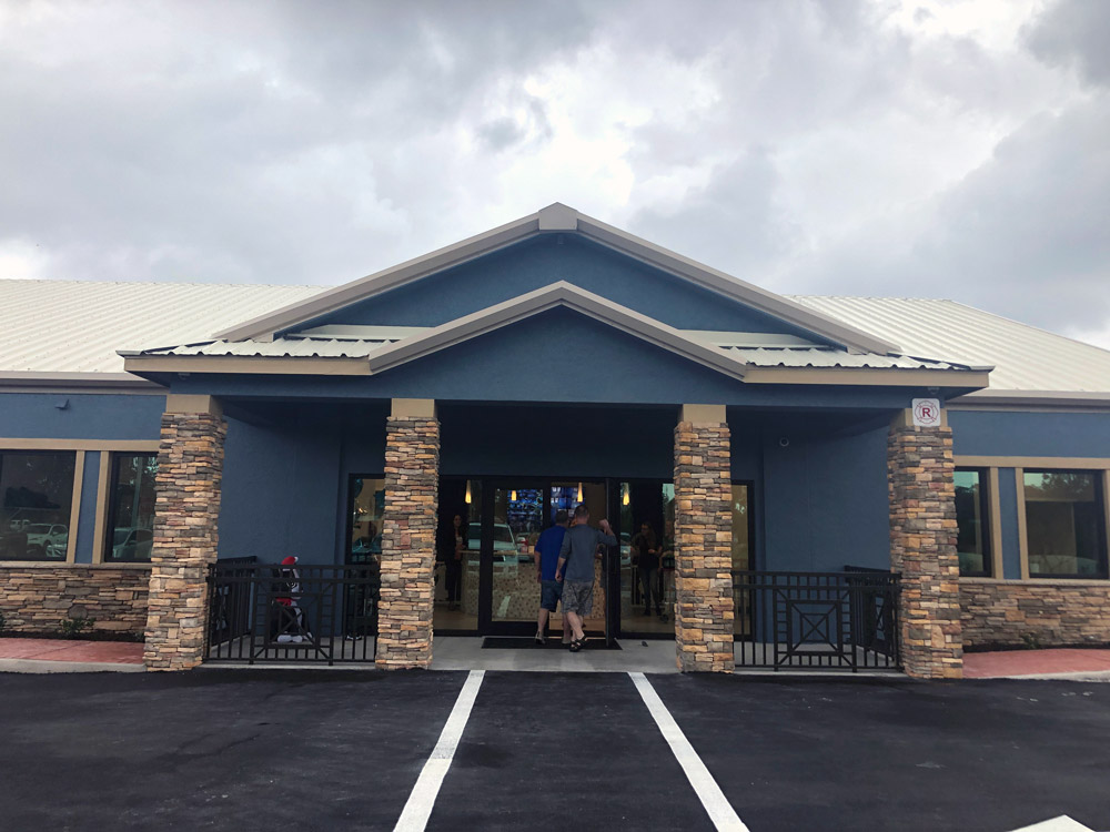 dog boarding and daycare facility - front entrance